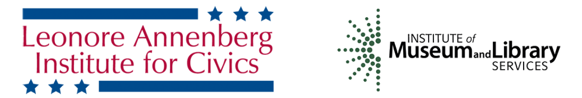 Logos for Civic Conversation funders Leonore Annenberg Institute for Civics and the Institute of Museum and Library Services